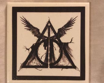 Harry Potter deathly hallows coasters set of 4
