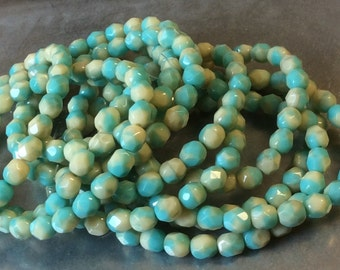 Czech Fire Polish 6mm Round Turquoise Beige Mix 1 Strand