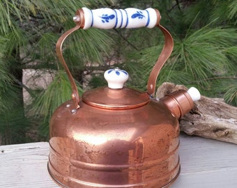 Copper Steam Kettle with Porcelain Delft Blue & White Handle and Button Knob #3