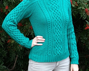 Handknit green cable sweater