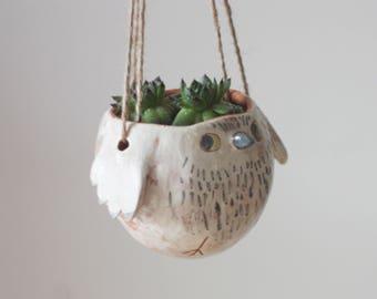Ceramic Hanging Planter/ Ceramic Hanging Pot/ Bird Flower Pot/ Cactus Flower Pot/ Ceramic Owl