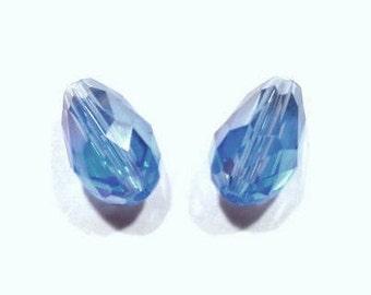 2-4 drops 12 x 8 mm cornflower blue IRIDESCENT, faceted glass