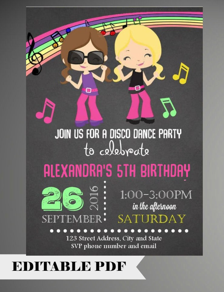 editable text girl dance party invitations girl dance