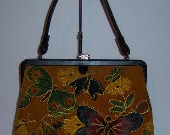 Vintage Trapunto Black Tan Green Butterfly Quilted Velvet Purse Handbag Bag Butterflies