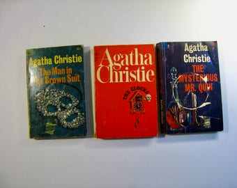 Vintage Agatha Christie book. Your Choice Mid Century mystery novel. The Clocks, Mysterious Mr Quin, Man in the Brown Suit.