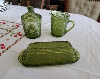 Vintage Avocado Creamer, Sugar Bowl w/Lid, Covered Butter Dish in Soreno Pattern by Anchor Hocking