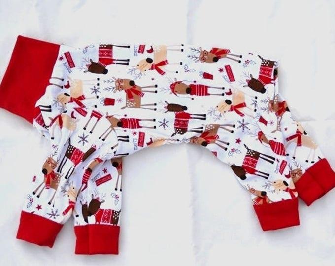 """Dog Pajamas. """"Reindeer Christmas PJ's"""" -  Italian Greyhound and small dog sizes"""