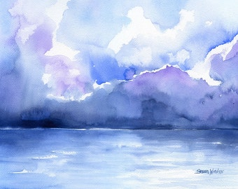 Stormy Ocean Watercolor Painting - 10 x 8 / 11 x 8.5 - Giclee Print Reproduction - Abstract Painting - Abstract Ocean Art