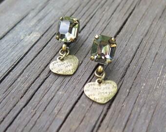 Copper Earrings, Romantic Earrings, Drop Earrings, Boho Jewelry, Love Jewelry, Love Earrings, Crystal Jewelry