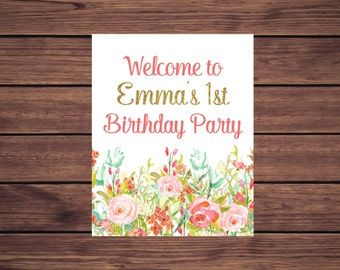 Floral 1st Birthday Welcome Sign, Pink Mint and Gold Floral Birthday Sign Printable, Digital Printable PDF 896