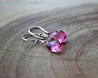 Rubellite Pink Tourmaline Briolettes Earrings/ Sterling Silver Earrings