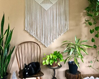 Large Macrame Wall Hanging - Natural White Cotton Rope - Geometric Triangles - Boho Home, Nursery, Wedding, Dorm Decor - MADE TO ORDER