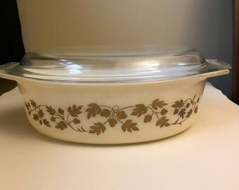 Gold Acorn Pyrex casserole with lid