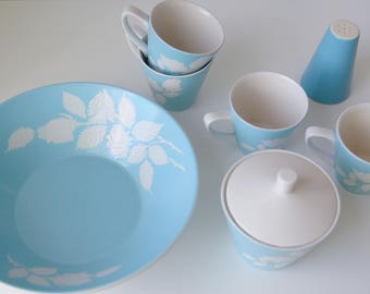 Mid Century Vintage Turquoise and White Ironstone Dishes // Cameo Rose // Harmony House Japan // 50s