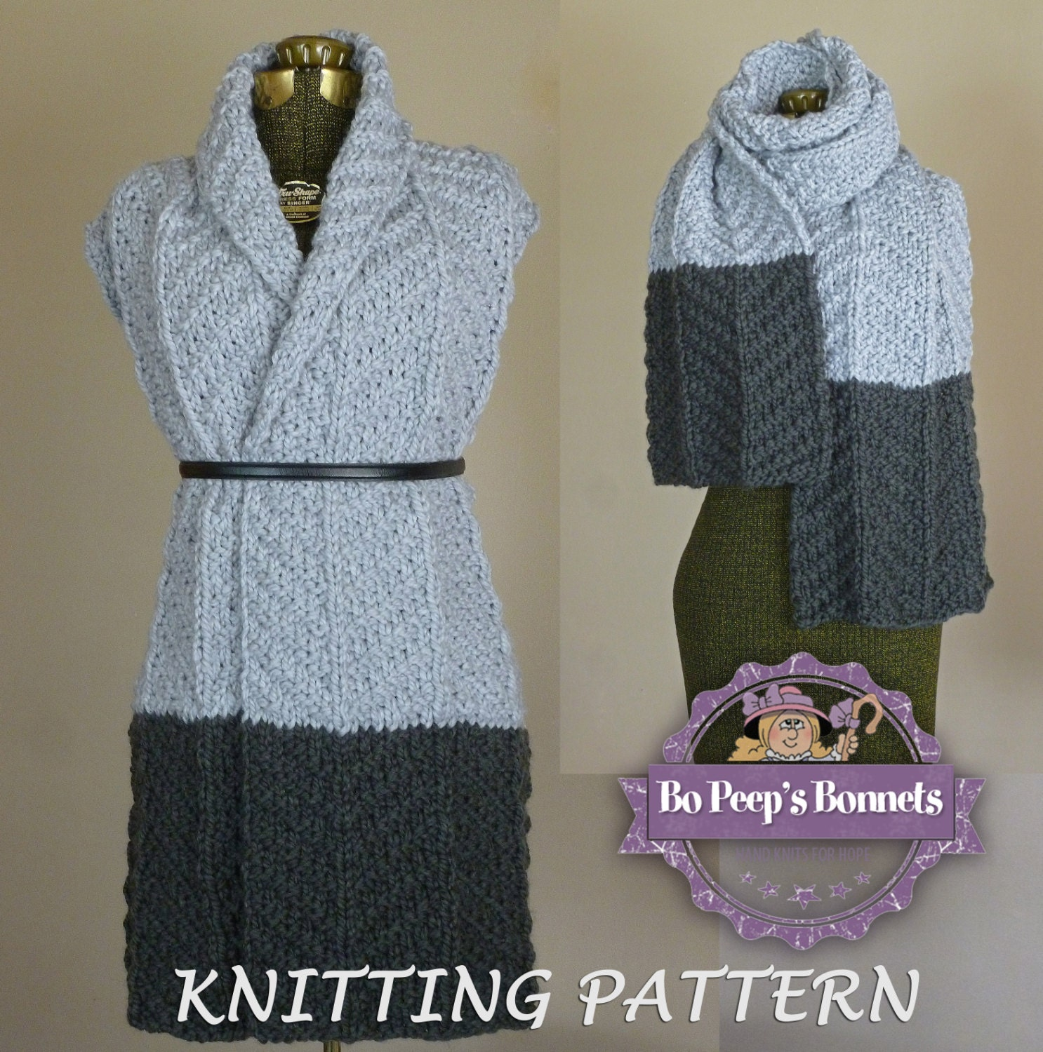Knit Scarf Pattern Color Block Scarf KNITTING PATTERN