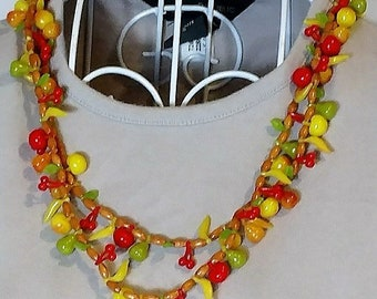 Vintage Celluloid Fruit Salad Necklace Mid-Century 1940s-1950s Western Germany Double Strand Beaded Carmen Miranda Colorful Plastic Jewelry