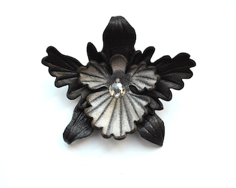 """brooch flower leather, orchid brooch handmade, gift for her, gift for mom, womans gift, leather brooch orchid. Ready to Ship! Size 3 """"(8cm)."""