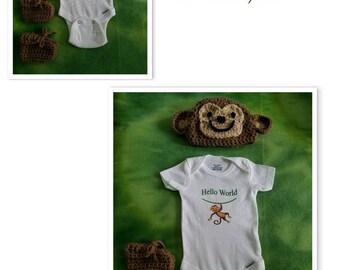 Infant Boys/Girls' Hello World Gift Set: Crochet Monkey Hat/Booties/Hello World Onesie