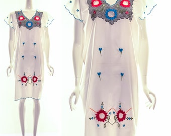 Vintage 70s White Ethnic Shift Dress Hand Embroidered Dress White Mini Dress Bohemian Ethnic Boho Dress Cotton Gauze Small Medium One Size