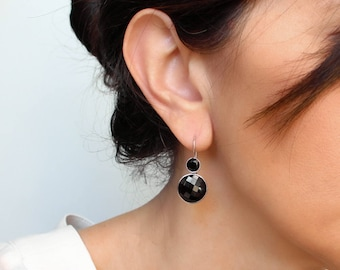 Black spinel earrings Sterling silver Black dangle earrings Jet black earrings Geometric jewelry