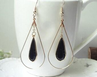 Drop Earrings Dangle Chain Earrings Delicate Earrings Black Earrings Wedding Earrings  0466