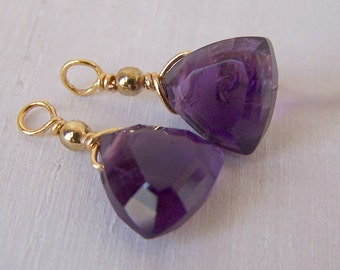 interchangeable gemstone dangles for pure titanium or niobium drop earrings- trillion cut amethyst with gold