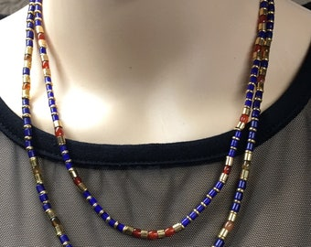 Lapis and Brass Egyptian Necklace