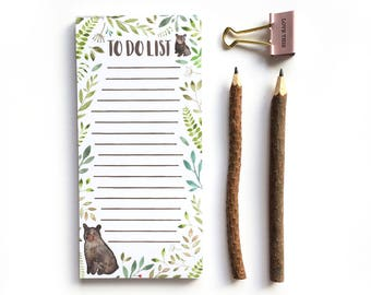 Note Paper, Paper Pad, Notepad, To Do List, Woodland, List Book, Bear, Stationery, Checklist, Desk Pad, List Pad, Organisation, List Lover