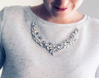 Bridal statement necklace, collar necklace, blue grey bridal jewelry, blue shade, gray bridal necklace, custom colors, VIENNA NECKLACE