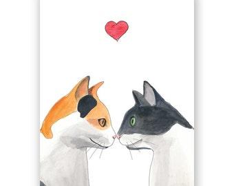 Cat Pair Valentine Card