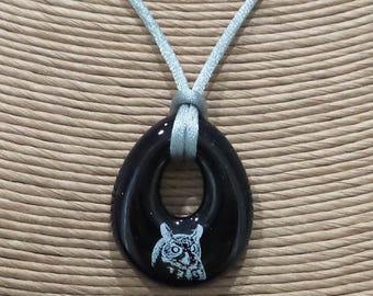 Owl Pendant, Black Necklace with White Owl, Teardrop, Fused Glass Donut, Black and White Jewelry - Wisdom - -5