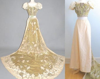 Antique 1898 Beaded Silk Velvet and Lace Victorian Ball Gown with Long Train & Ornamental Metallic Bullion Trim, Reception Evening Gown