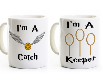 Anniversary Wedding Gift - I'm a Catch Keeper Coffee Mugs Cups - His and Hers Couples Gift - Harry Potter Gift