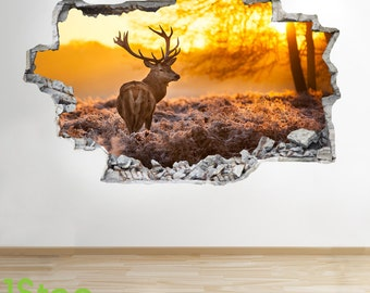 Deer Stag Sunset Wall Sticker 3d Look - Bedroom Lounge Nature Wall Decal Z56