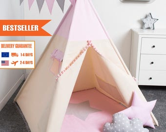 teepee tent, children teepee play tent, kids play tent,indian teepee PINK set 7 elements