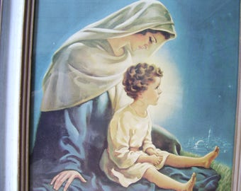 1952 Large Mary and Child, Madonna and Child Lithograph Made in the USA,Religious Art Warner Sallman