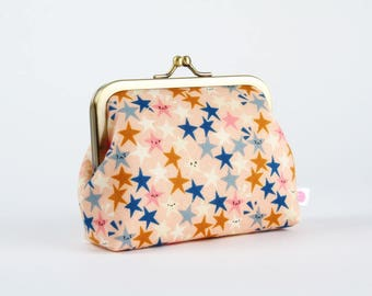 Metal frame change purse - Starstruck peachy - Deep dad / Kawaii japanese fabric / Cotton and Steel / teal blue pink caramel brown