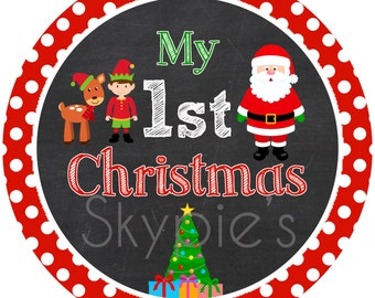 INSTANT DOWNLOAD Printable My First Christmas Iron On Transfer - Christmas Stocking Iron on - 1st Christmas