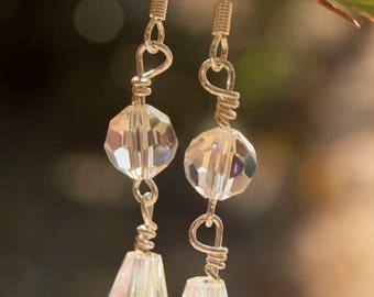 Teardrop Clear Crystal, Dangle Earrings