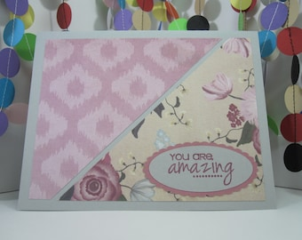 Floral Mauve Card - Choose the greeting - You are amazing - Thank You - Celebrate - Happy Birthday - gray mauve flowers