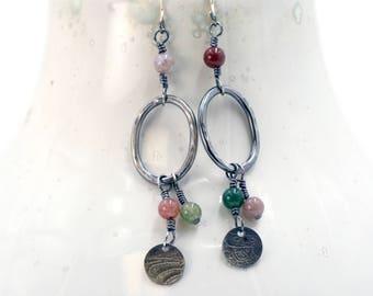 Silver Dangle Earrings, Boho Earrings, Gypsy Earrings, Sterling Silver Drop Earrings, Stylish Earrings, Boho Jewelry, Bohemian Earrings 3073