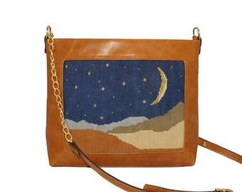 handmade handembroidery leather handbag