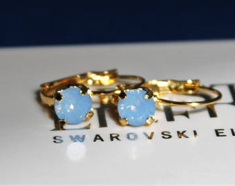 Gold Plated Leverback Earrings made with Air Blue Opal Swarovski Crystal Elements. Earrings by Lady C