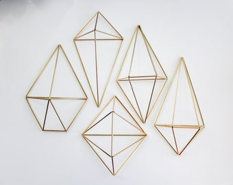 The Wall Sconce Collection | 5 Brass Air Plant Holders, Modern Minimalist Geometric Ornament