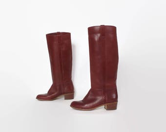 Vintage 80s Riding BOOTS / 1980s Tall BURGUNDY Sienna Leather Knee High Boots 6 1/2