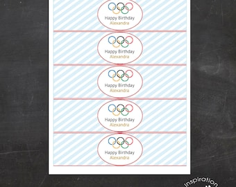 EDITABLE - Custom Olympics Water Bottle Wrappers, Olympic Games Water Bottle Labels, Olympic Rings, Olympics Party - Birthday