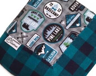 Camping Baby Blanket, Flannel Plaid Blanket, security blanket, lovey blanket, nursing blanket, baby gift