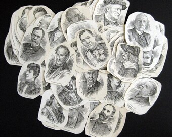 20 Famous Faces clipping pack etched illustrations from 1910 Reference books for your art projects line drawings faces
