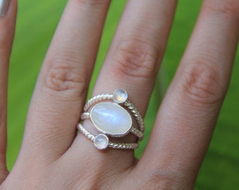 Ubuntu Ring, Moonstone Ring, Sterling Silver Ring, Handmade Ring, Statment Ring, Sunsara Jewellery