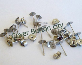 200 Stainless Steel 5mm Earring Posts and Backs - 10.4mm Long